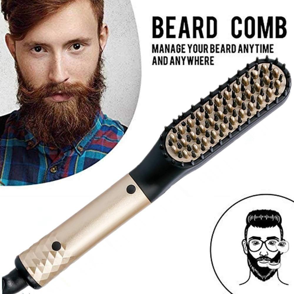 Professional Beard Hair Straightener Hairdressing Comb Straightening Brush Multifunctional Hair Curler Man Electric Hair Tool Hair Straightening Iron Hair And Beard Styles Professional Beard