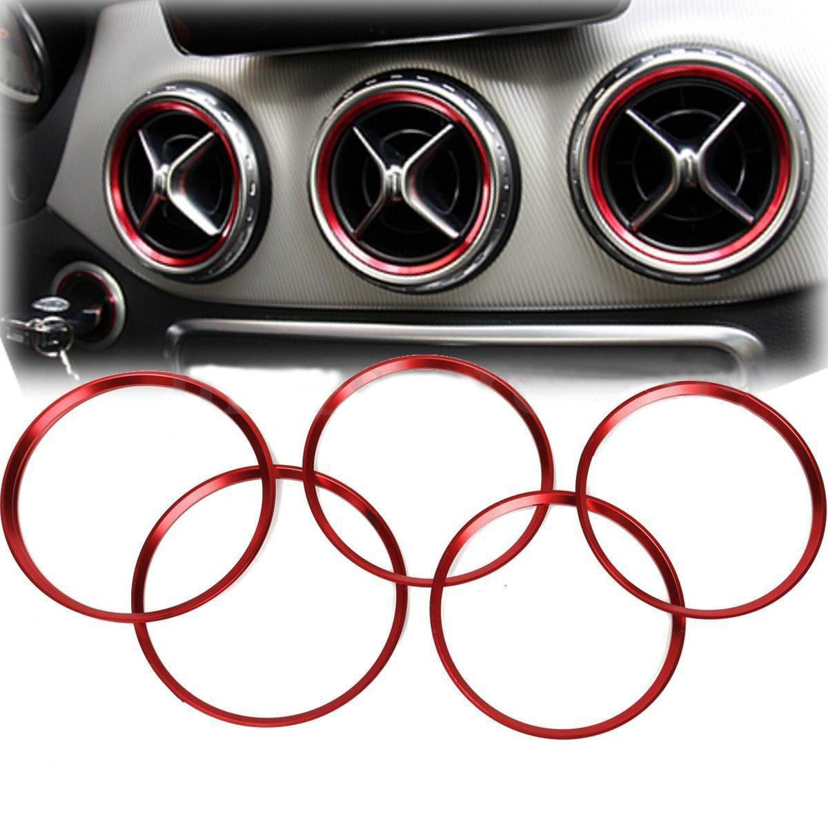 Red Air Ring Cover Trim Vent Outlet For Class 180 A//B//CLA//GLA Benz 200 220 5 Pcs