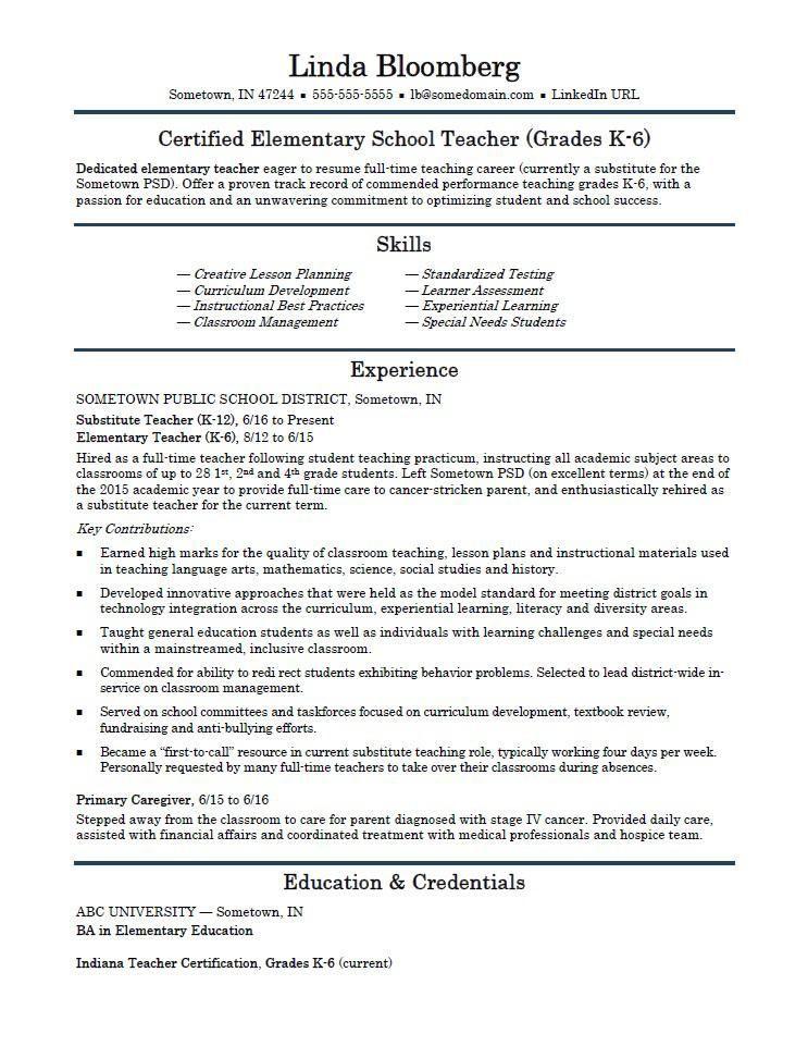 Free Teacher Resume Sample Resume Templates Professional