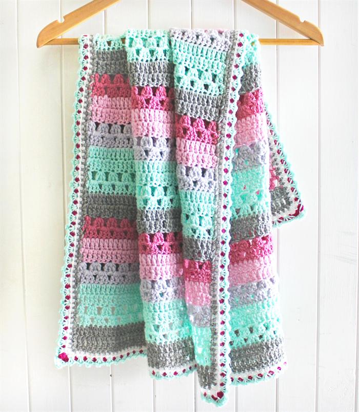 crochet baby blanket | stripes | wool | baby girl gift | pink, grey ...