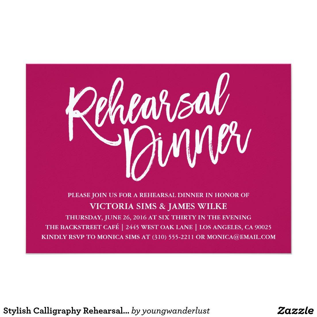 Modern Stylish Calligraphy Wine Rehearsal Dinner Invitation #wine ...