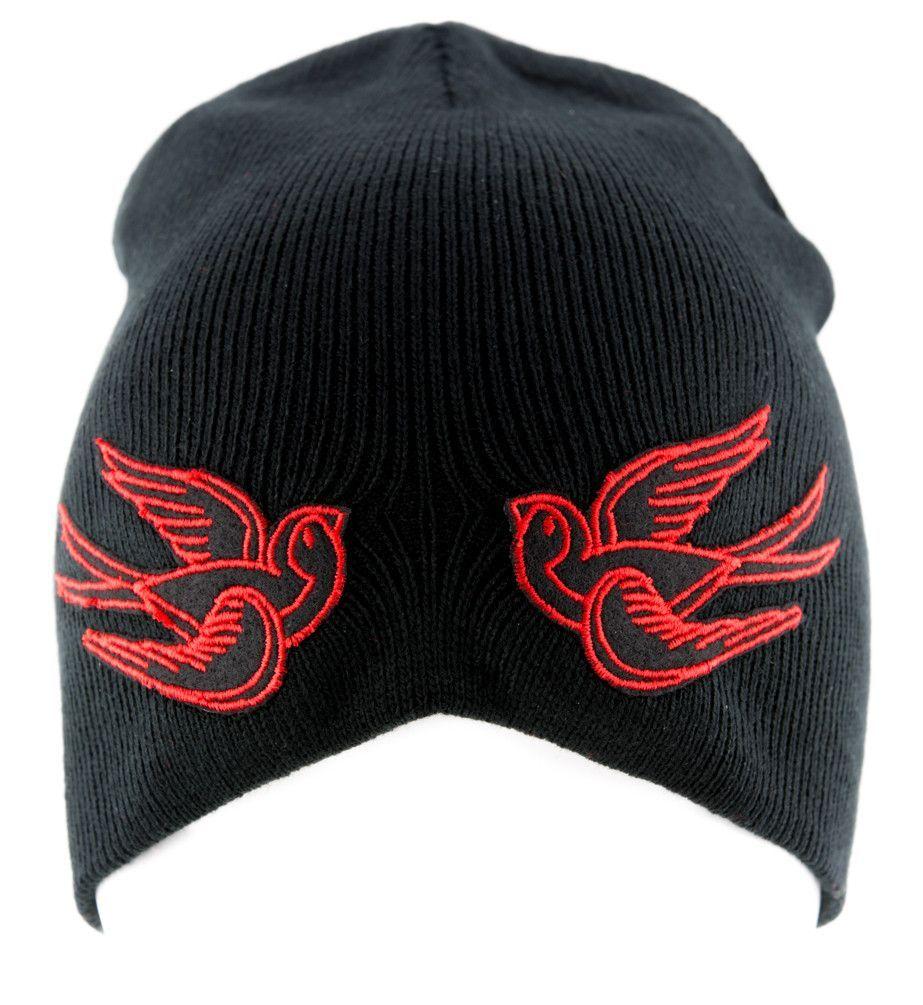 Red Swallow Sparrow Birds Beanie Alternative Clothing Knit Cap Rockabilly Tattoo Symbol