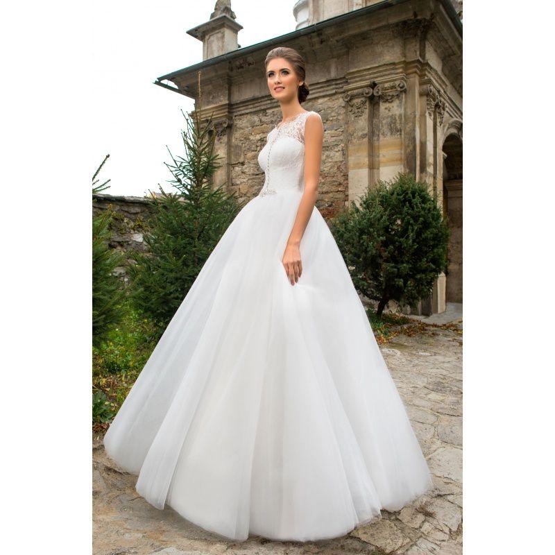 Rozy - luxusné dlhé svadobné šaty na ramienka s čipkou zdobené kamienkami s  veľkou tylovou sukňou 3d6a0e20a68