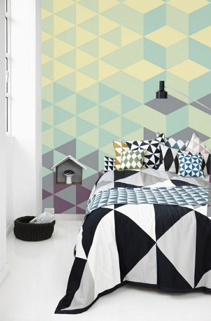 Wandgestaltung Ideen   Im Moment Gibt Es Eine Mode Für Wandgestaltung Mit  Dreiecken. Sie Werden Auf Den Mannigfaltigsten Weisen Miteinander  Kombiniert.
