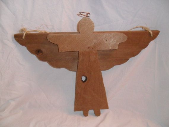 Vintage Angel LARGE Wall Hanging Wood Wooden Rustic by KathiJanes, $18.95