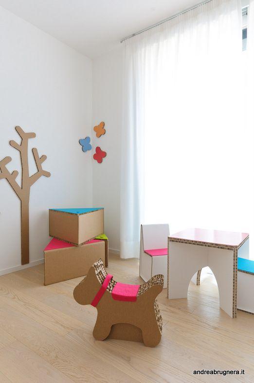 andrea brugnera designer stanza giochi cartone bambini arredi ... - Arredamento Neonati Design