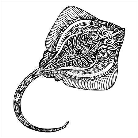 Calambrepeces de vector dibujado a mano en blanco y negro doodle