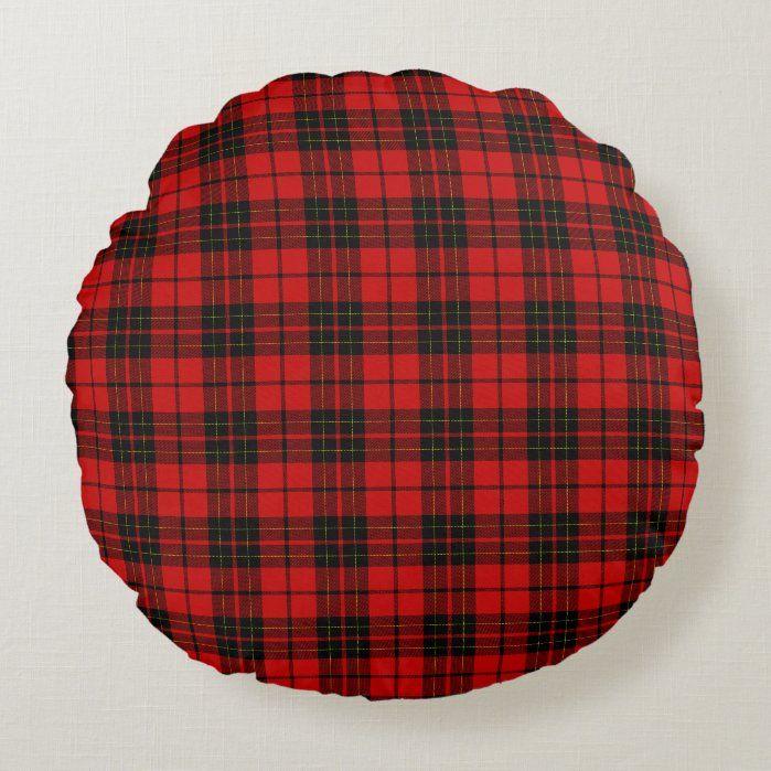 Brodie clan tartan red black plaid Round Pillow