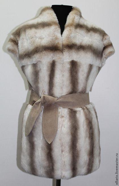 Жилет из кролика - серый,жилет,меховой жилет,мех кролика,женская одежда