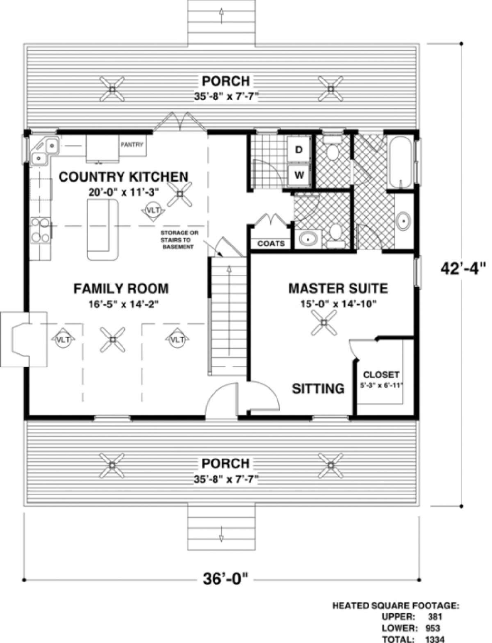House Plan 036 00020 Small Plan 1 334 Square Feet 3 Bedrooms 2 5 Bathrooms In 2020 Basement House Plans Cottage House Plans Tiny House Floor Plans