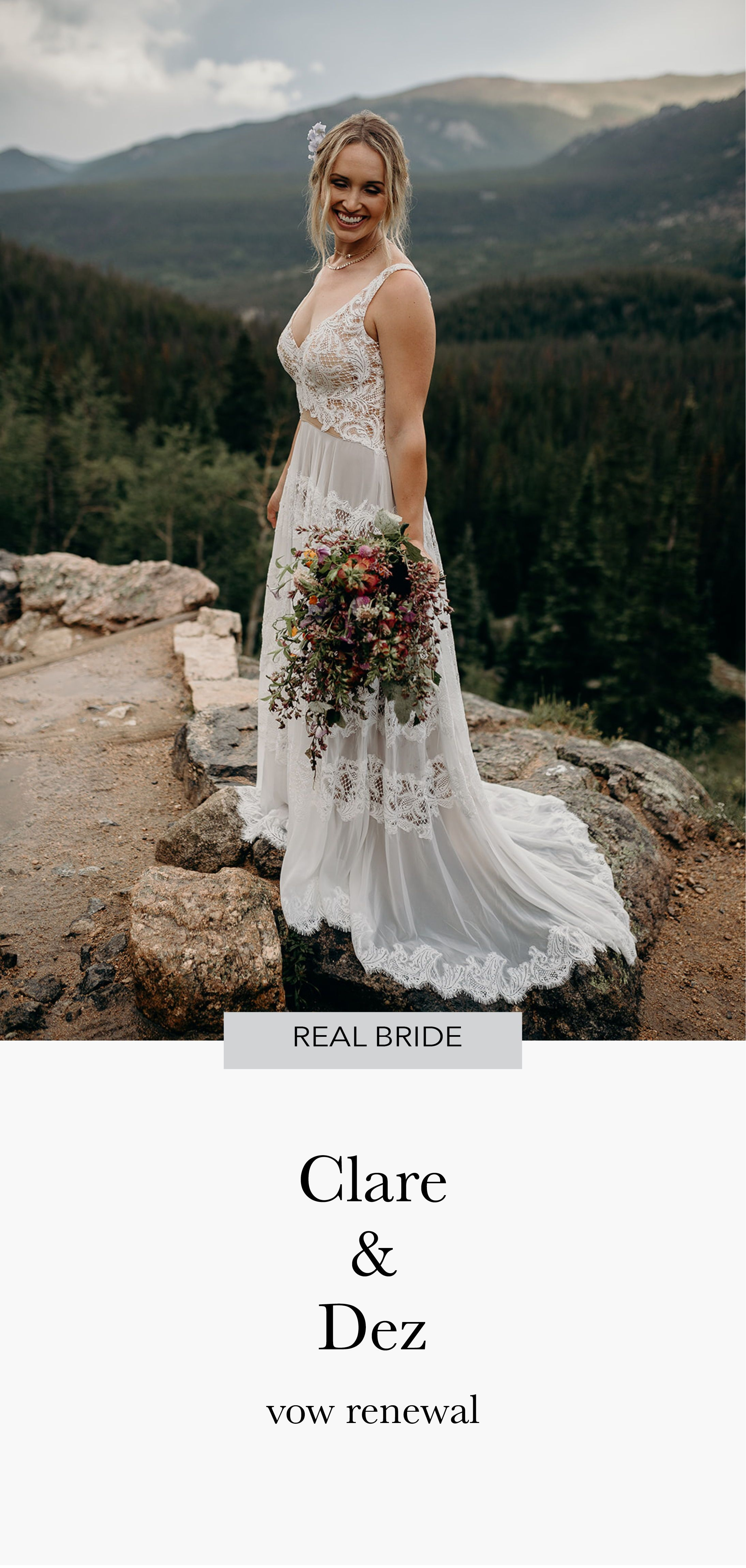 Willowby Lace Wedding Dress For This Colorado Mountain Vow Renewal