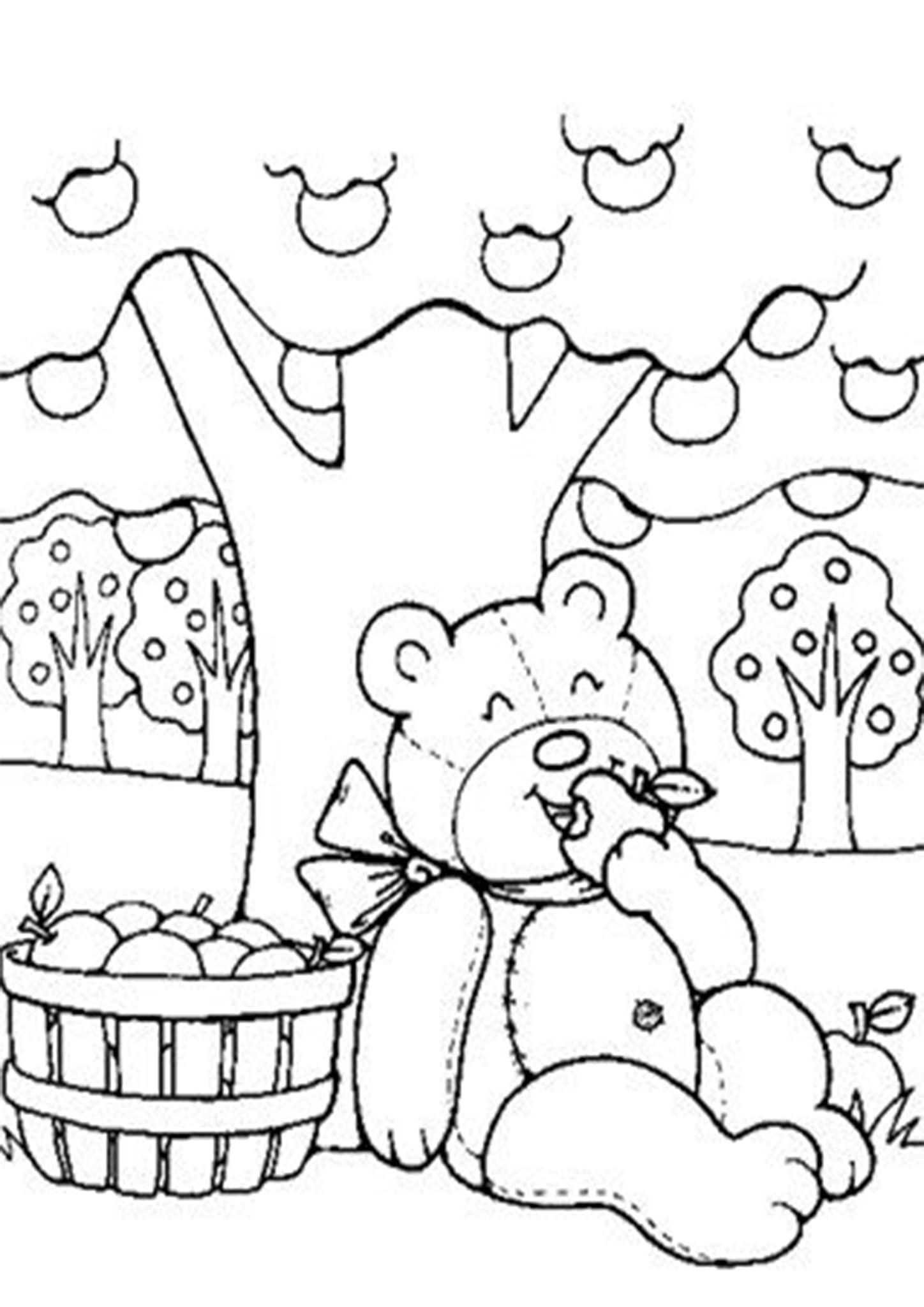 Free Easy To Print Bear Coloring Pages Apple Coloring Pages Teddy Bear Coloring Pages Bear Coloring Pages