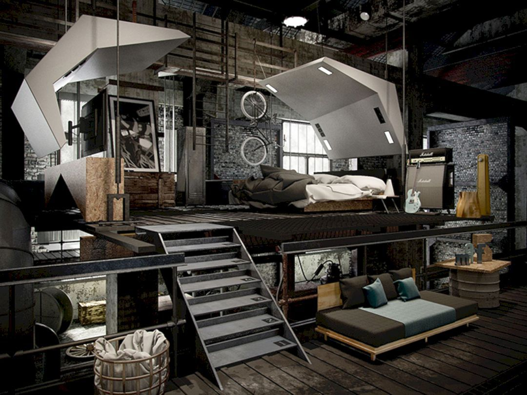 Room Top Awesome Industrial Bedroom Design & Room Top Awesome Industrial Bedroom Design | Mondean