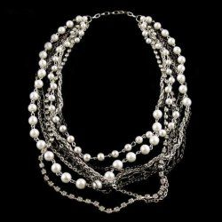 $12.61 Sumptuous Mulity Layered Faux Pearl 2013 Short Sweater Chain Necklace For Women