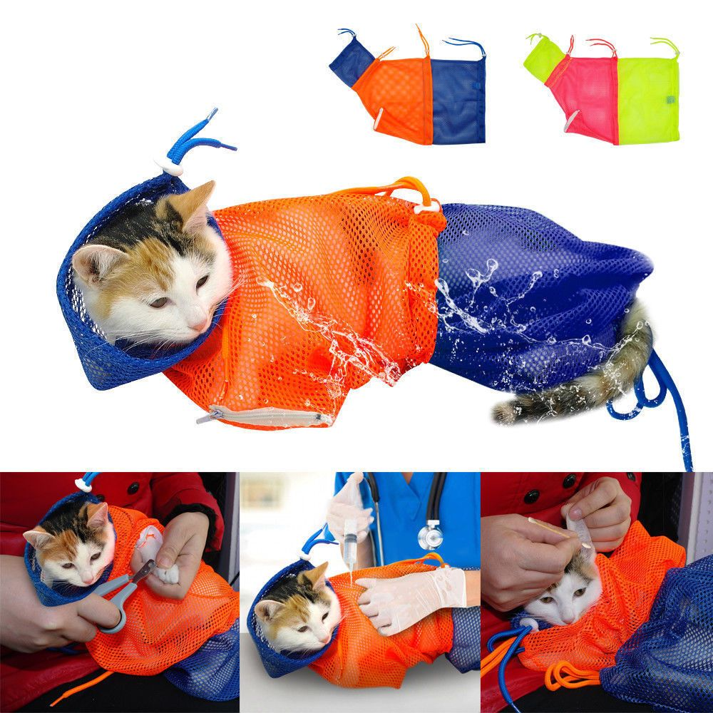 Details About Mesh Kitten Cat Grooming Bathing Bag Restraint For Bathing No Scratching Biting Cat Grooming Cats And Kittens Kitten Grooming
