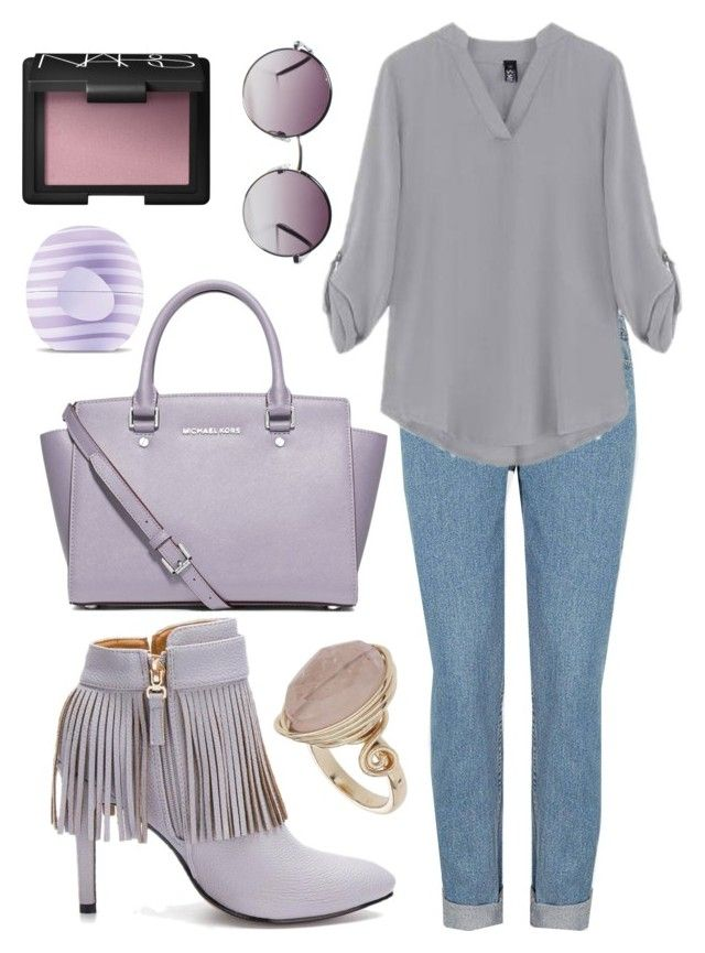 """Untitled #492"" by lovedreamfashion ❤ liked on Polyvore featuring MICHAEL Michael Kors, Topshop, NARS Cosmetics, Monki, Eos, denim, violet and lilac"