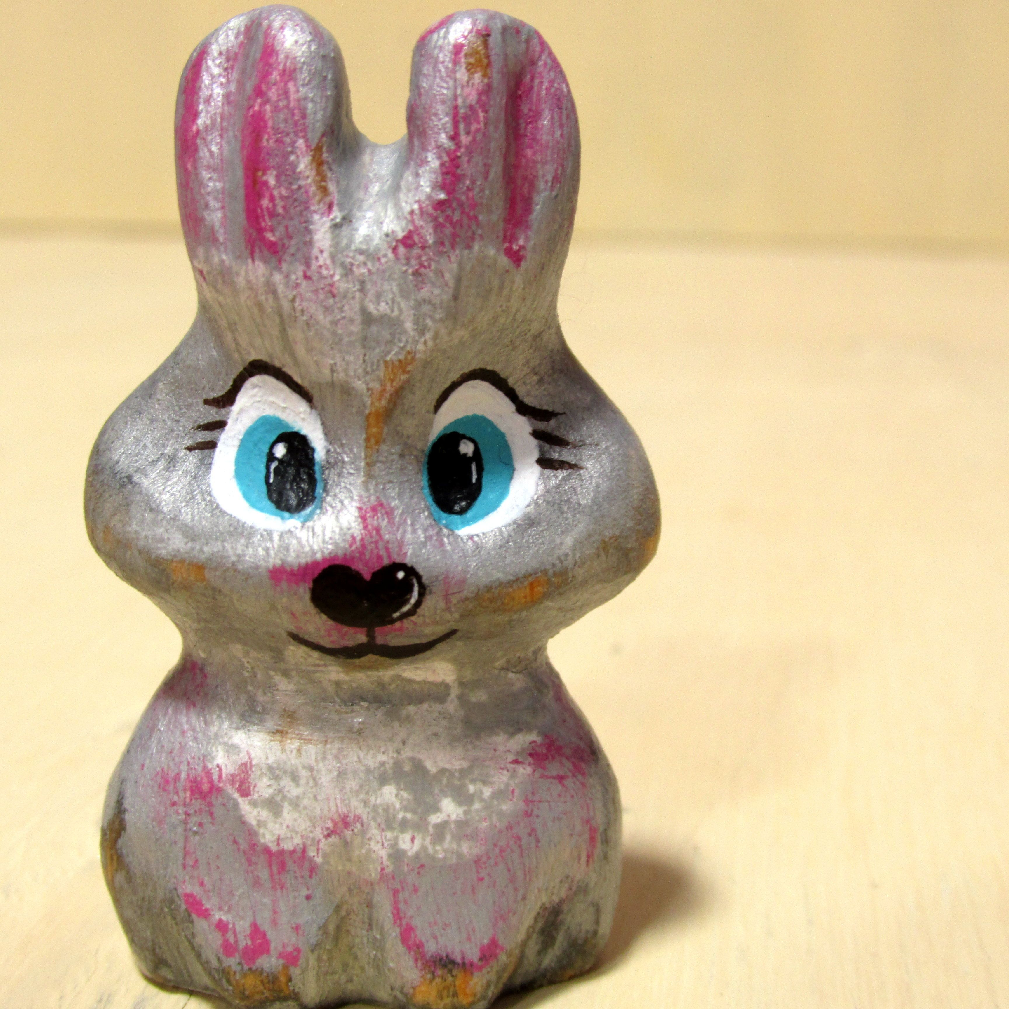 Wooden Rabbit Figure Figurine Easter Bunny Wood Carve Hare Sculpture