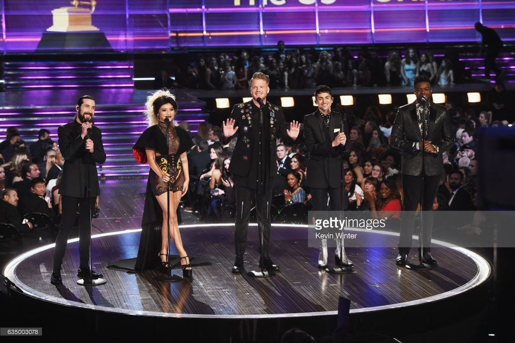 Recording artists Avi Kaplan, Kirstin Maldonado, Scott Hoying, Mitch Grassi, and Kevin Olusola of music group Pentatonix perform onstage during The 59th GRAMMY Awards at STAPLES Center on February 12, 2017 in Los Angeles, California.