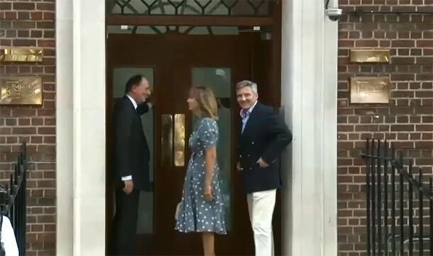 Kate's parents Carole and Michael Middleton arriving at the hospital via taxi shortly after 3pm local time on Tuesday, July 23 2013