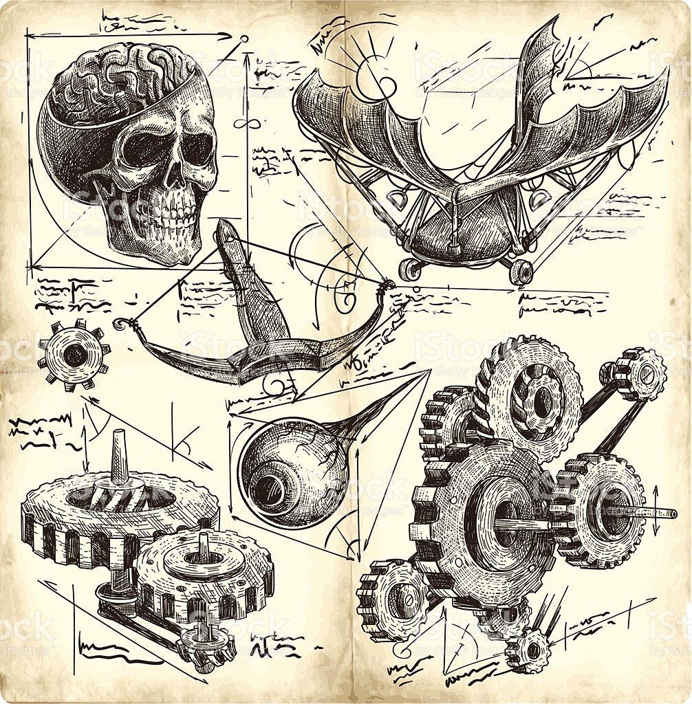 Extrêmement Anciens dessins Ingénierie stock vecteur libres de droits libre de  ME56