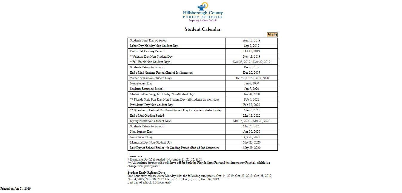 Hillsborough County School Calendar ✅Hillsborough County School Calendar   You Calendars https://