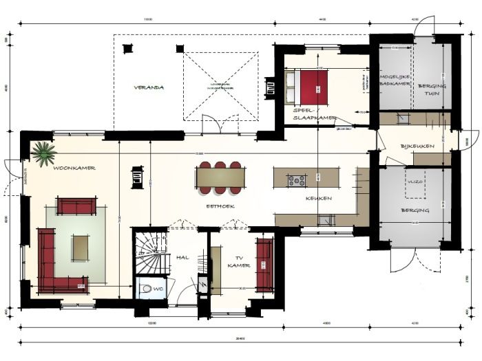 Modern landelijke villa met bijgebouw begane grond for Indeling woning