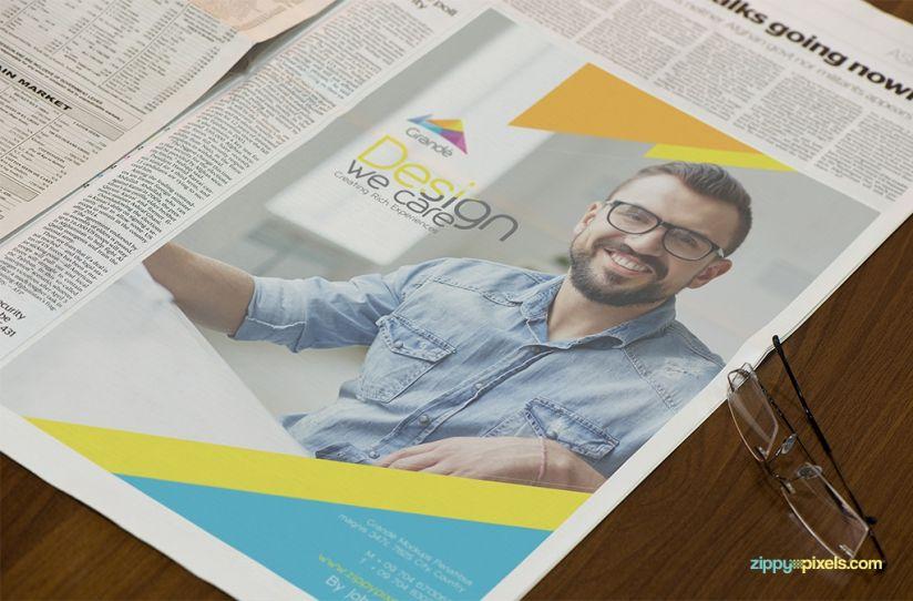 Professional Newspaper Psd Mockups  Closeup Of A HalfPage
