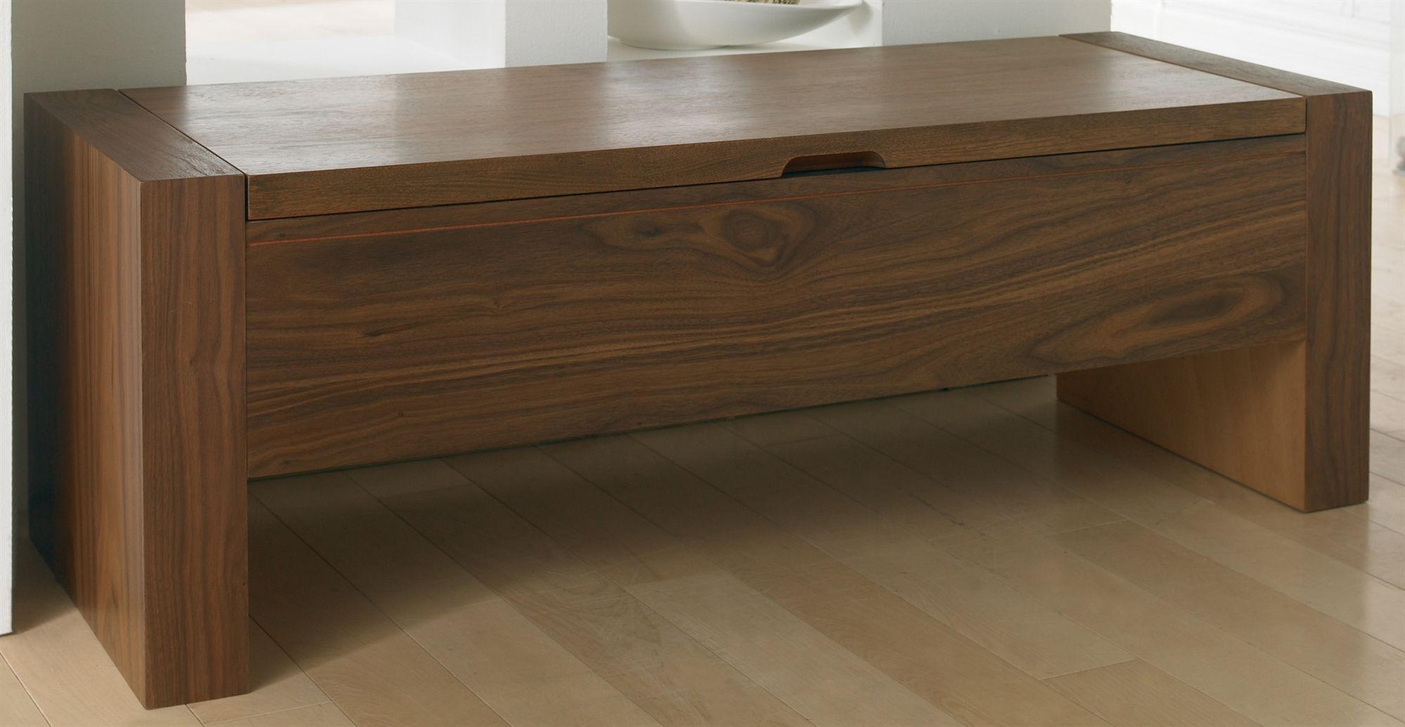 Picture Of Sunpan Imports Carlyle Rectangular Lift Lid Storage Bench In  Walnut Finish (spn 50254) (Indoor Benches)