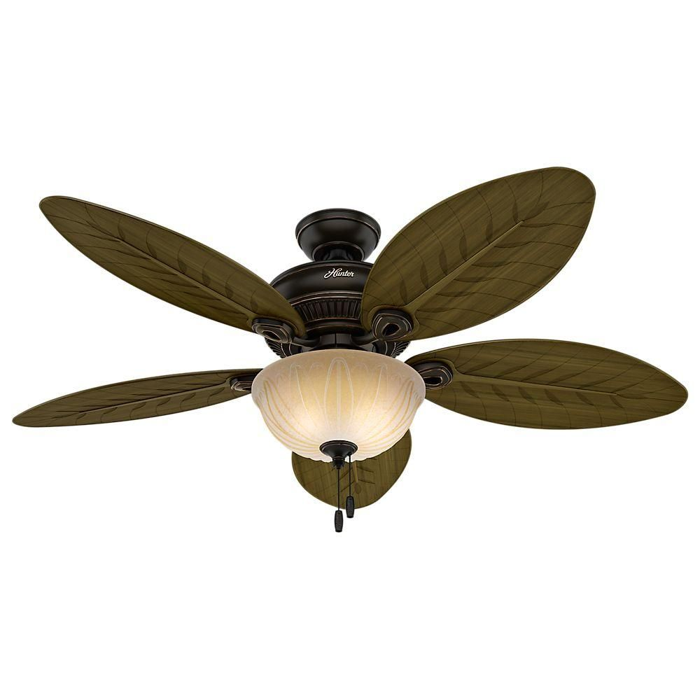 Hunter Grand Cayman 54 In Onyx Bengal Damp Rated Ceiling Fan With