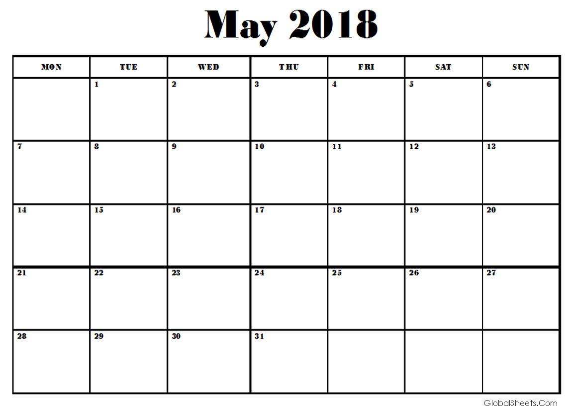 Edit May 2018 Google Sheet Calendar 2018 Calendars Pinterest
