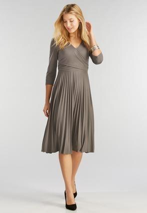 Cato Fashions Pleated Faux Wrap Midi Dress-Plus ...