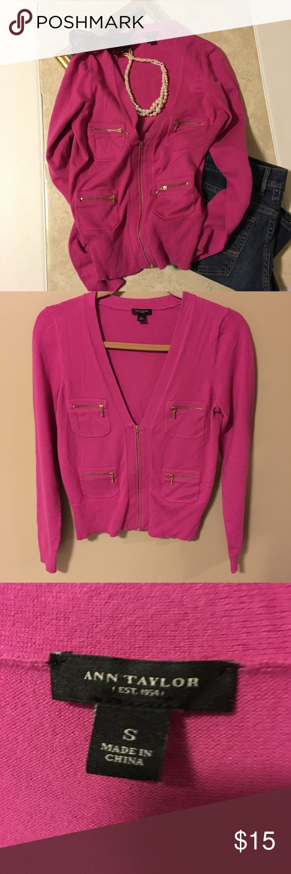 Ann Taylor Hot Pink Cardigan With Zippers Size S Sporty Sweater