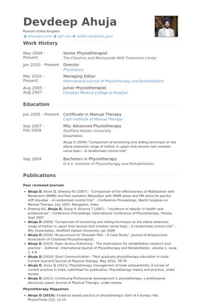 Senior Physiotherapist Resume Example Job Resume Format Resume Examples Resume