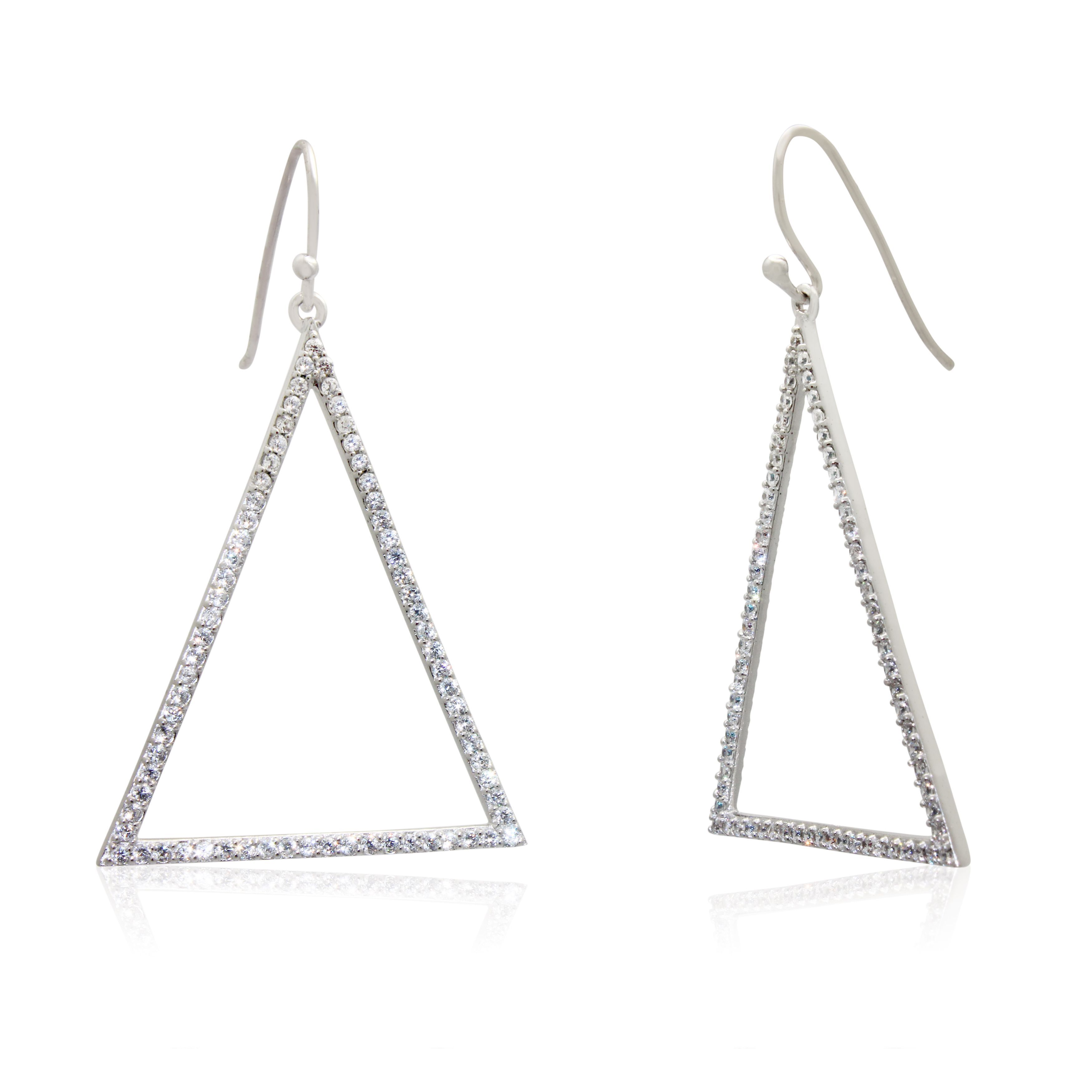 Gioelli Sterling Silver Cubic Zirconia Triangle Dangle Earrings