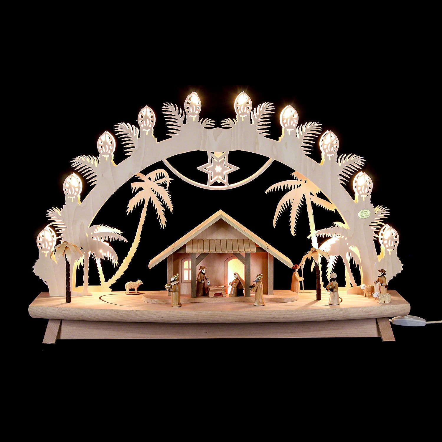3d Candle Arch Nativity With Moving Figures 68 43 16 Cm 27 17 6in By Saico Seiffen Candles Christmas Holidays Wooden Candles
