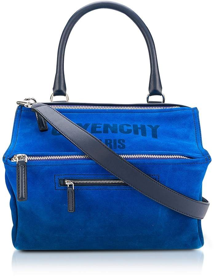 04067a350ef1d Givenchy Blue Leather Pandora Crossbody Bag. Small Pandora Bag crafted in suede  leather, has the signature avantgarde boxy silhouette with ample room, ...