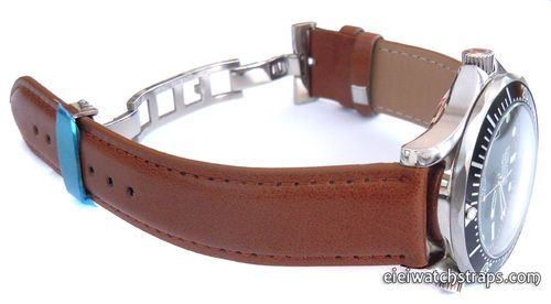 0d0fface759 Brown Leather Watch strap on butterfly deployant clasp For Omega Seamaster  professional