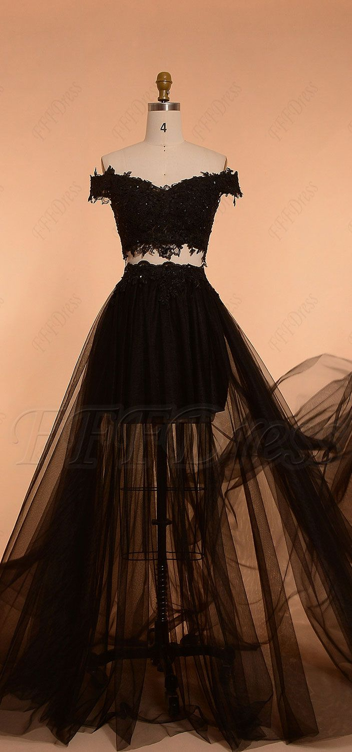 Black off the shoulder two piece prom dresses pinterest prom