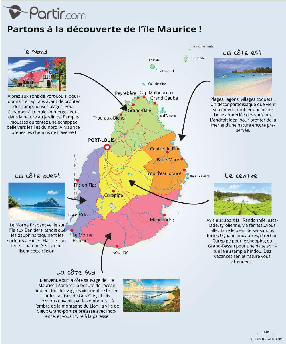 carte Ile Maurice région | Voyage de noce île Maurice | Pinterest