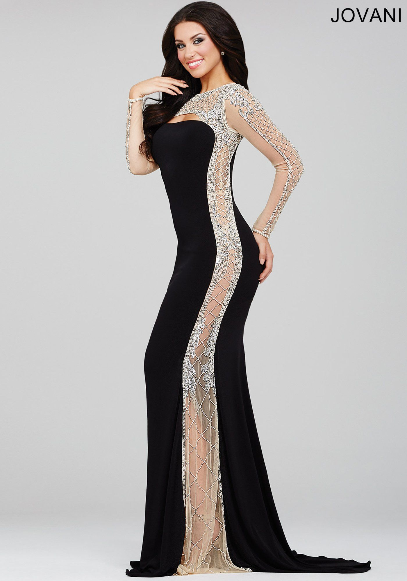 Jovani 22954 In Stock Black/Nude Size 6 Long Sleeve Evening Gown ...