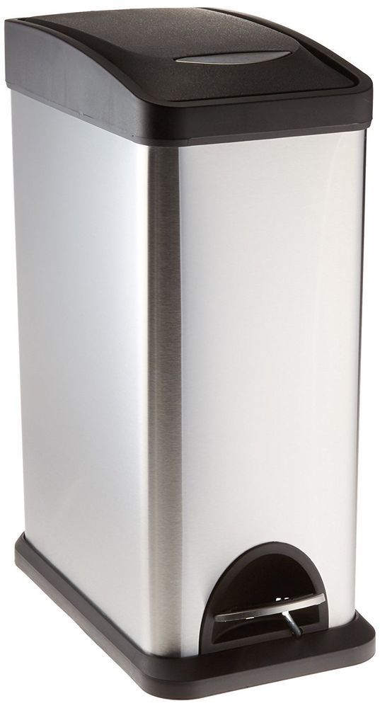 Slim Trash Can Bathroom Kitchen Stainless Steel No Touch Dorm Foot