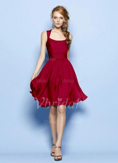 A-Line/Princess Square Neckline Knee-Length Ruffle Lace 30D Chiffon Zipper Up Regular Straps Sleeveless No Burgundy Royal Blue Spring Summer Fall Blue Red Bridesmaid Dress