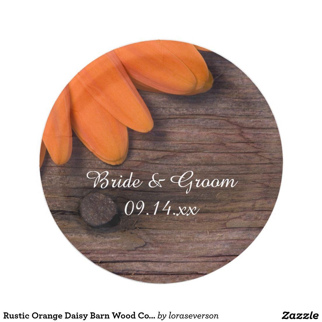 Rustic Orange Daisy Barn Wood Country Wedding Paper Plate   Barn ...