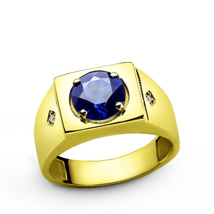 Men S Sapphire Ring In 10k Yellow Gold With Natural Diamonds Yellow Gold Mens Rings Rings For Men Mens Sapphire Ring