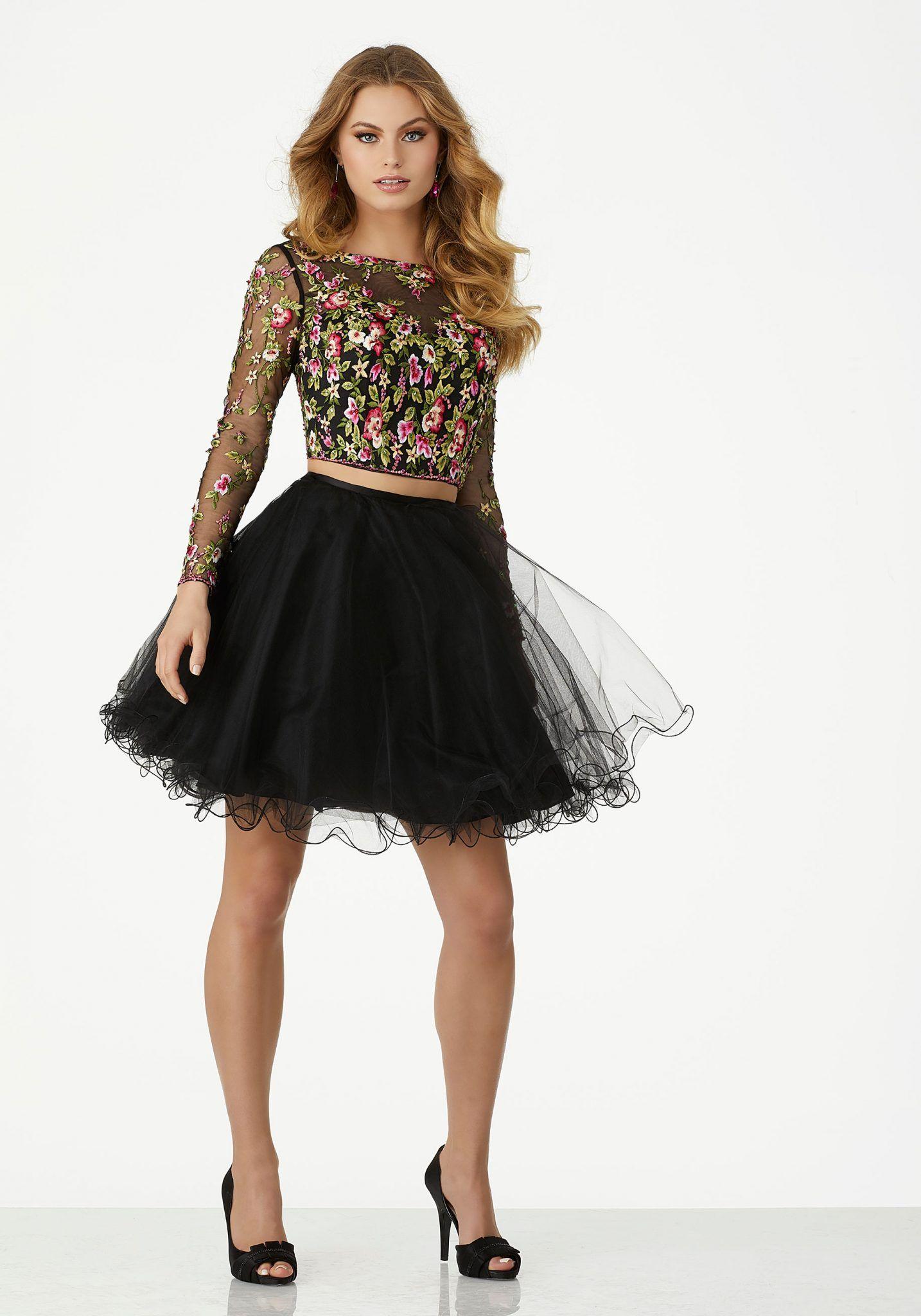 2020 Klos Abiye Elbise Kisa Gece Elbiseleri Siyah Uzun Kollu Tul Etek Nakis Islemeli Mezunlar Gecesi Elbiseleri Kisa Elbiseler Parti Elbisesi