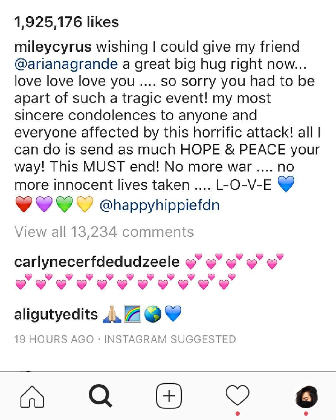 @mileycyrus towards @arianagrande regarding the incident after her concert in Manchester. #news #newpost #celebrity #arianagrande #mileycyrus http://tipsrazzi.com/ipost/1521353087604072585/?code=BUc7pKclaCJ