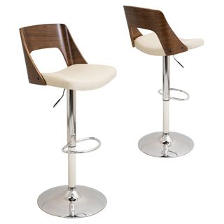Shop For Valencia Mid Century Modern Walnut Finished Adjustable Bar Stool.  Get Free Shipping