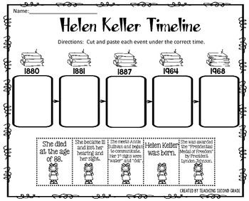 Helen Keller Timeline Cut and Paste FREEBIE!I am pleased to offer ...