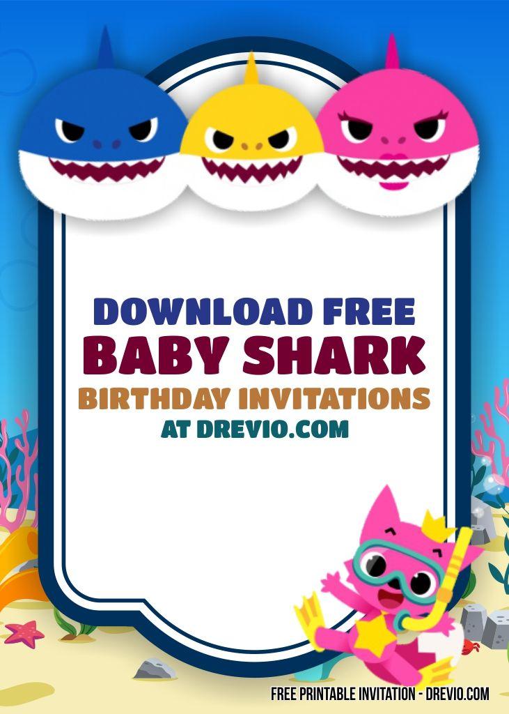 Cool Free Printable Baby Shark Invitation Templates
