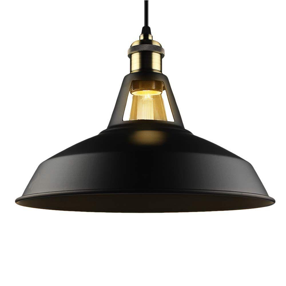 B2ocled 1 Black Ceiling Lights Metal Lamp Shades Industrial Pendant Light Ceiling Lighting Shade 27cm Diameter Ama Industrial Hanging Lights Farmhouse Pendant Lighting Pendant Lighting